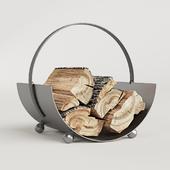 Burnished Steel Log Holder