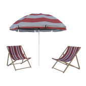 Beach sun lounger and umbrella
