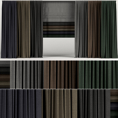 A series of curtains in six colors with a roman curtain.
