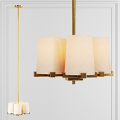 Restoration Hardware PAUILLAC PENDANT Fabric shade and Brass