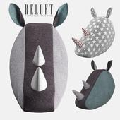 Декоративная голова носорога из ткани SOFTHEADS