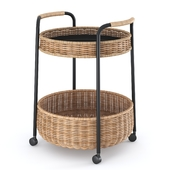 LUBBAN Little table on wheels with a box, rattan, anthracite from Ikea | LUBBAN Serving cart with storage, rattan, anthracite by Ikea