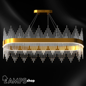 Chandelier Gold Glass Sticks Oval