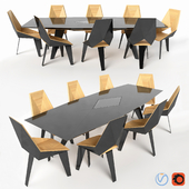 Polygonal Table and Chairs Set
