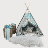Children's wigwam and decor in blue