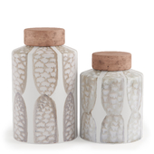 Vases Zuo Feather Lg Covered Jar Ivory Sage Grn