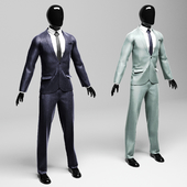 Men's classic suit in two variants violet / silver
