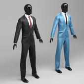 Men's classic suit in two versions black / blue