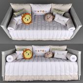 Диван-кровать Tresor Amadeirada и комплект постельных принадлежностей Amiguinhas Safari Beige