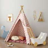 Wigwam nursery with toys