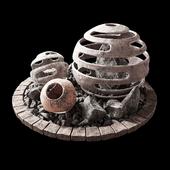 Flowerbed with stone decor / Клумба с каменным декором