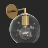 RH Utilitaire Globe Shade Single Sconce Brass