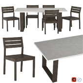 West Elm Concrete Outdoor Dining Table & Portside Chair