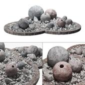 Flowerbad stone sphere decor / Каменная клумба с сферическим декором
