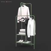IKEA NIKKEBY Clothes rack, gray-green and red colors
