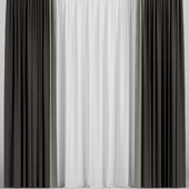 Brown curtains in two colors.