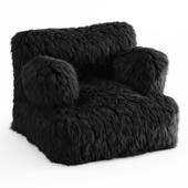 Winter Fox Faux-Fur Eco-Lounger Black