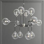 Bistro Globe Clear Glass Silver Chandelier 12