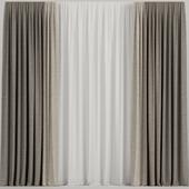 Brown curtains.