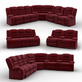 Vacherie Black Double Reclining Sectiona