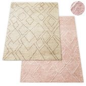 Abstract Diamond Handwoven Wool Shag Rug RH Collection
