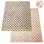 Ombre Diamond Handwoven Wool Shag Rug RH Collection
