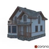 Двухэтажный деревянный коттедж
