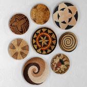 Wicker African wall baskets.