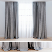 Curtains gray with tulle 001 | Curtains modern 001