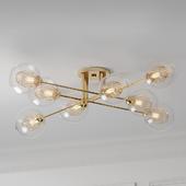 Mid Century 8 Light Radial Glass Gold Ceiling Light Pendant