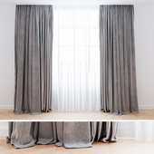 Curtains gray velvet with tulle | Curtains are modern