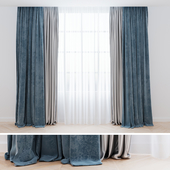 Curtains blue with tulle | Curtains are modern