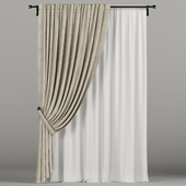 Beige curtains in the wings.
