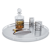 Plate with whiskey and cigar
