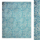 Jasmin Collection Blue and Ivory Cubes Area Rug