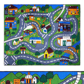 Jenny Collection Grey Road Traffic Kids Area Rug