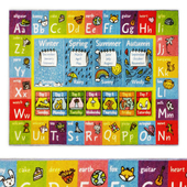 Multi-Color Kids ABC Alphabet Seasons Months Area Rug