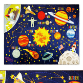 Multi-Color Kids Playroom Space Safari Area Rug