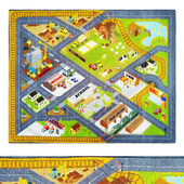 Multi-Color Kids Farm Road Map Area Rug