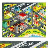 Multi-Color Kids Playroom Road Map Area Rug