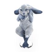 Sculpture of a rabbit in blue