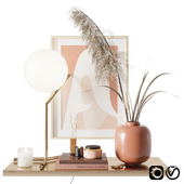 Decorative set with pampas grass