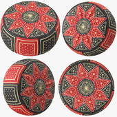 Red Black Moroccan Leather Pouf