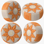 Beige Orange Moroccan Leather Pouf