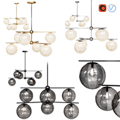 West Elm Sphere and Stem collection 6 light Chandelier Chrome, Gold, Bronze