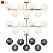 West Elm Sphere and Stem collection 7 Flushmount light Chandelier Chrome, Gold, Bronze
