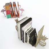 Books end Pineapple Flamingo