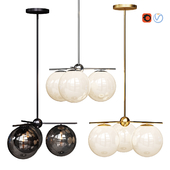 West Elm Sphere and Stem collection 3 light Chandelier Chrome, Gold, Bronze