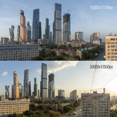 View of Moscow City. Morning and evening