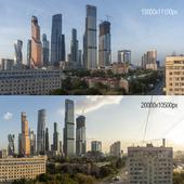 Вид на Москва-Сити. Утро и вечер